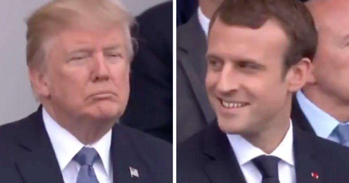 Trump's and Macron's reactions to Daft Punk medley could not be more different