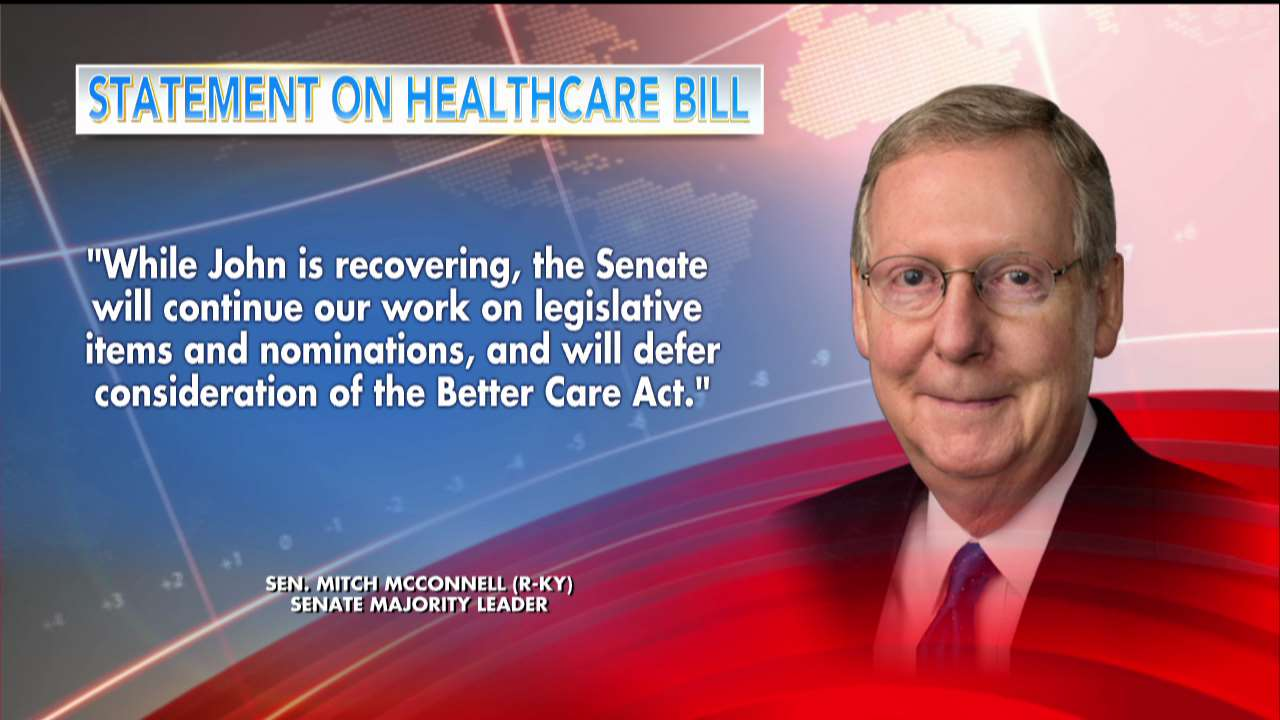 .@SenateMajLdr delays action on health care after @SenJohnMcCain surgery https://t.co/ROhNpW8nqK https://t.co/h9bbfViFpf