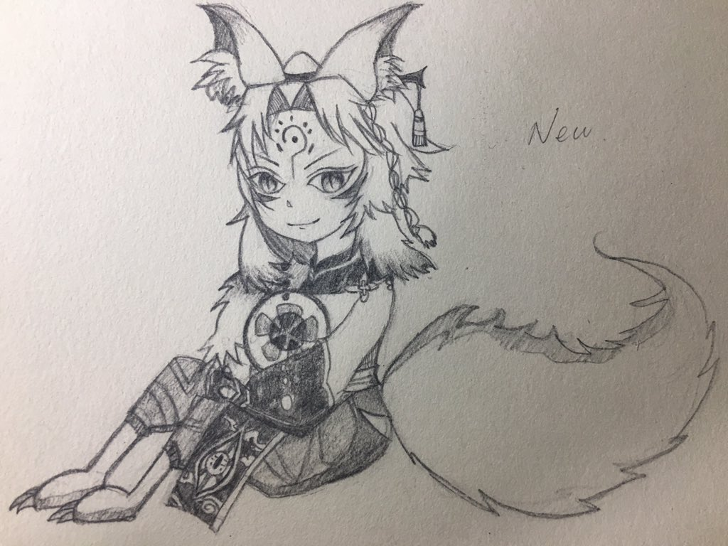 妖狐ちゃんを描いた_(┐「ε:)_懐に抱えているのは茨木君のボールです٩( 'ω' )و
