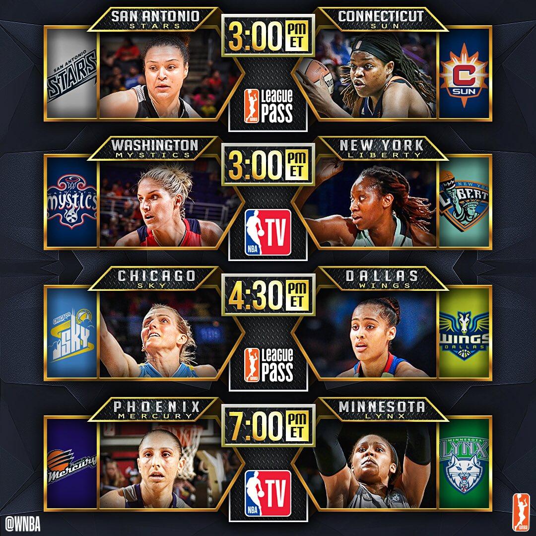 We've got a 4-game #WNBA Sunday on tap, including an @NBATV doubleheader! #WatchMeWork https://t.co/Bdty1IH070
