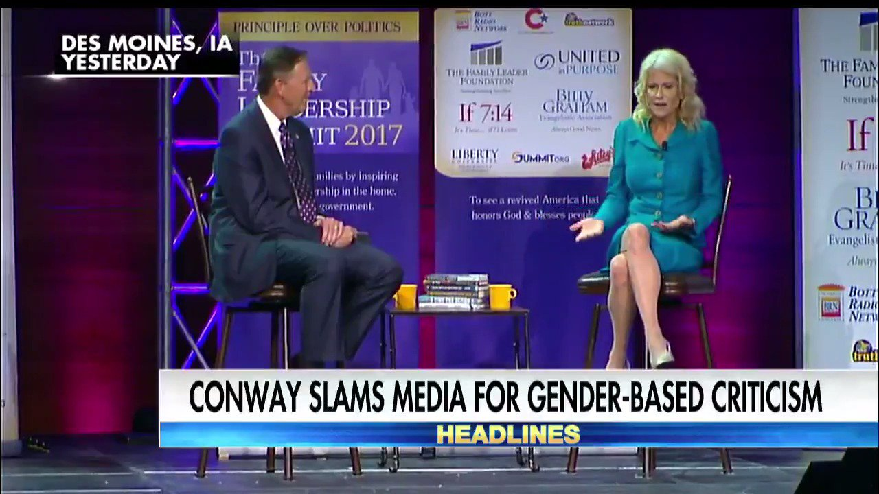 .@KellyannePolls slams media for gender-based criticism. https://t.co/SyGXW8SLoe