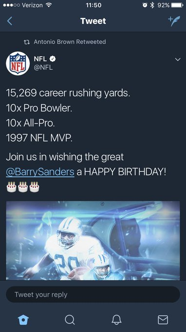 Barry Sanders is extremely excited that the NFL wished him a happy birthday.