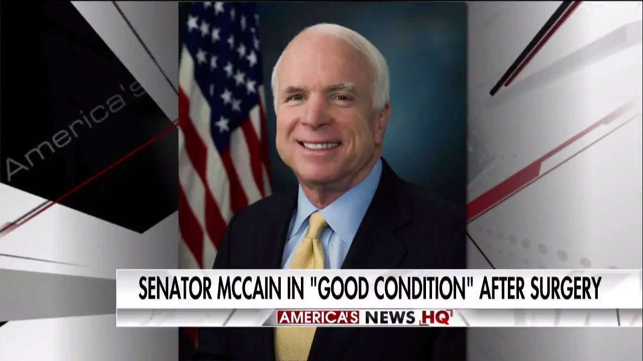 Breaking News: @SenJohnMcCain in 'good condition after surgery.' https://t.co/TMGylPtFMc