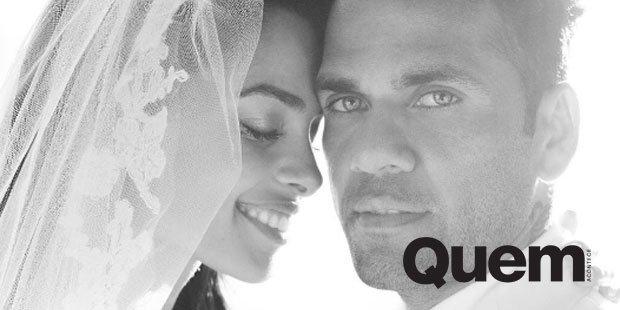 Daniel Alves. Foto do site da Quem Acontece que mostra Daniel Alves e Joana Sanz divulgam fotos do casamento