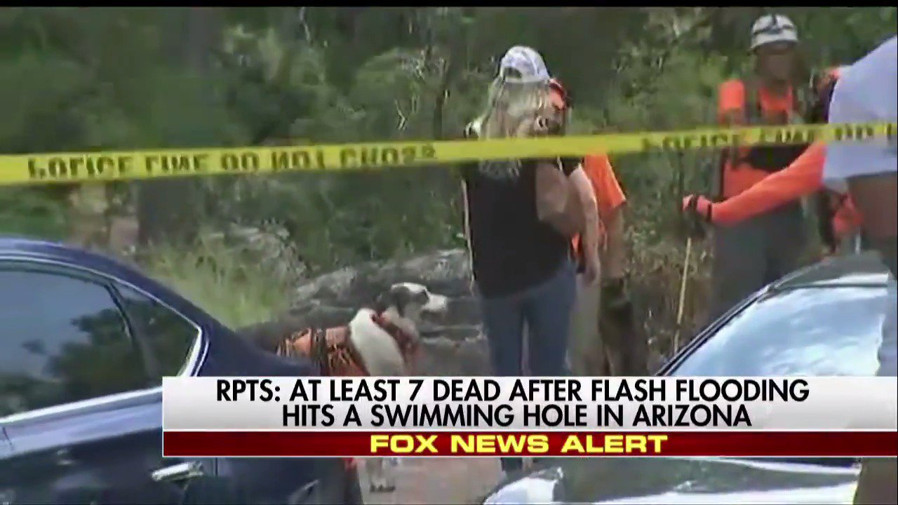 Reports: At least 7 dead after flash flooding hits a swimming hole in Arizona. https://t.co/QdrdiM7LMD https://t.co/kQeLHFpq8f