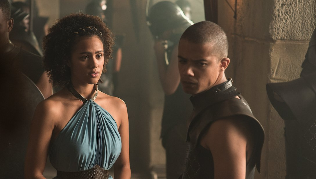 Jacob Anderson (Grey Worm) describes the #GOTs7 premiere in 3 words: 'So. Much. Fighting!' https://t.co/HR5Nf83usr https://t.co/aBDrAugVid