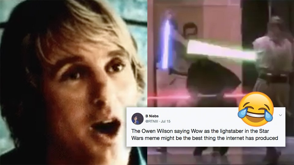 Man replaces lightsaber sound with Owen Wilson saying 'wow' and it's pure genius https://t.co/uKbyIQYBpT https://t.co/00bypfnQ4d
