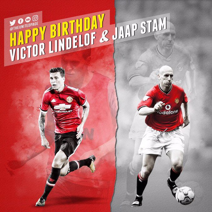 Happy birthday to our new defender Victor Lindelof and former legendary defender Jaap Stam!