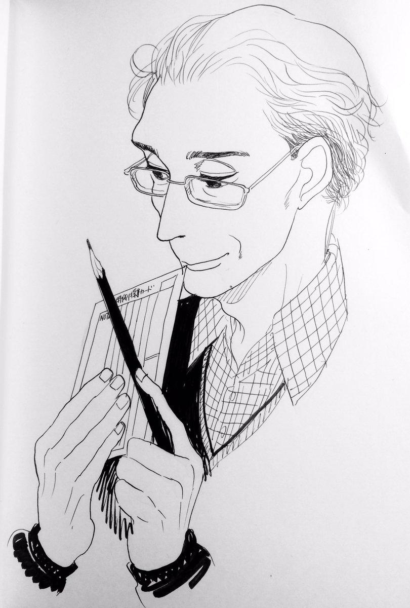 七十代の馬締さんが見てみたい、と思って衝動的に描いてしまった。絶対いいわあ。 次号の #舟を編む では四十代になりますよ