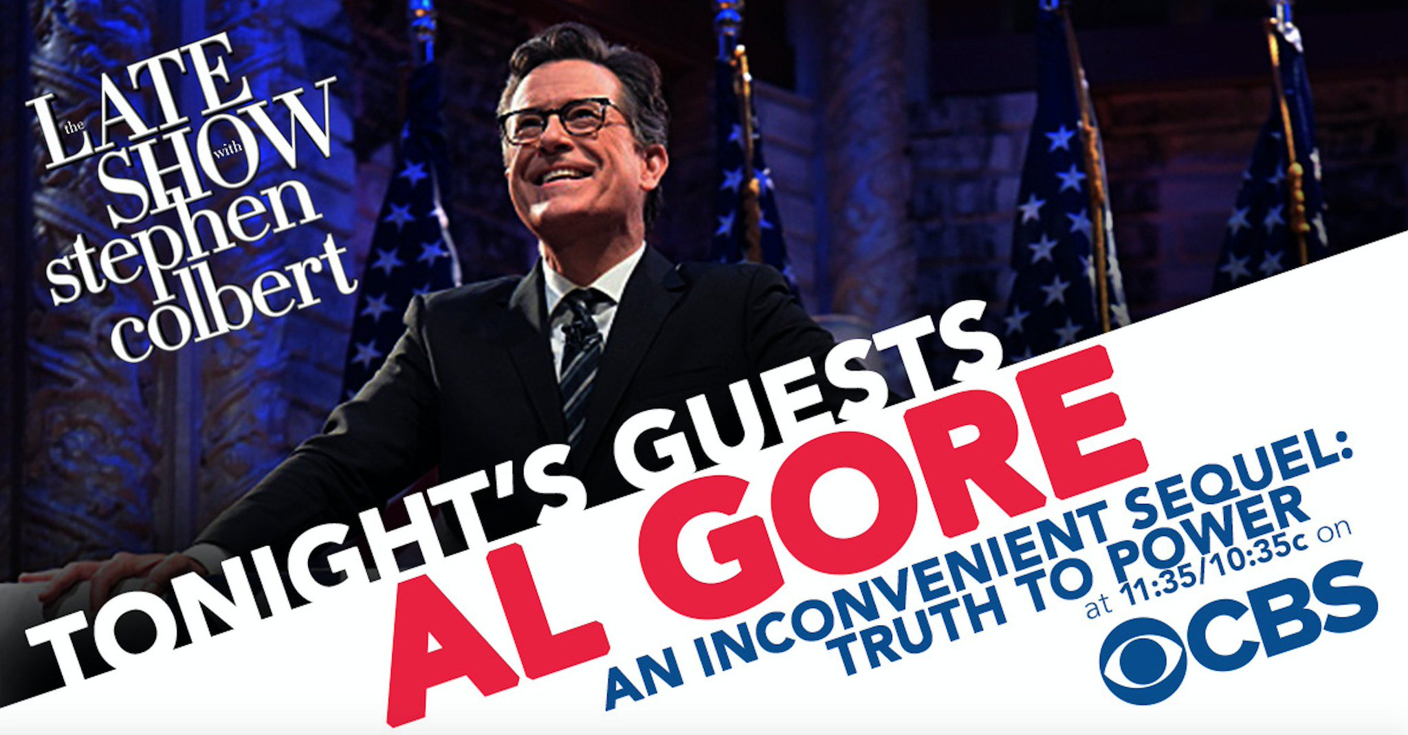Excited to talk @aitruthfilm on tonight's episode of @colbertlateshow. #BeInconvenient https://t.co/zW5RNBj6M1