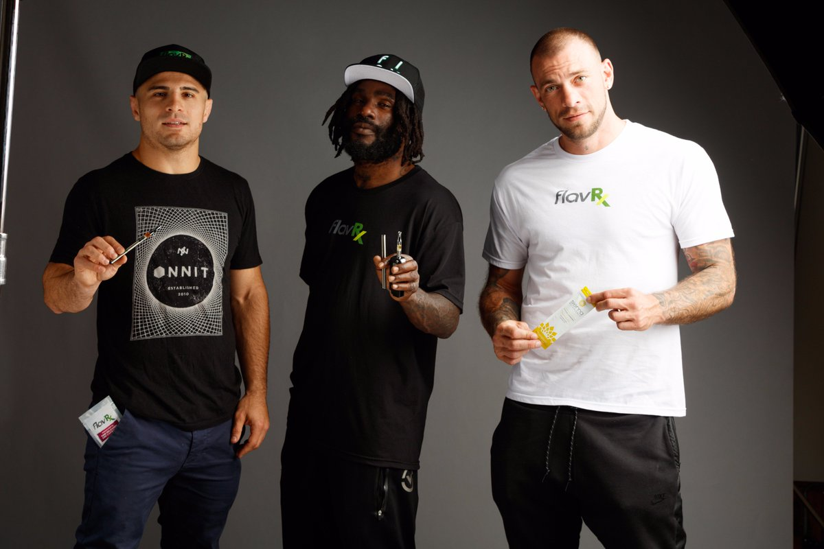 MMA Fighters @georgimma @DanielStraus and @JoeSchilling187 stepping up their game with #FlavRx #Weedmaps https://t.co/8KxBlGIiXd