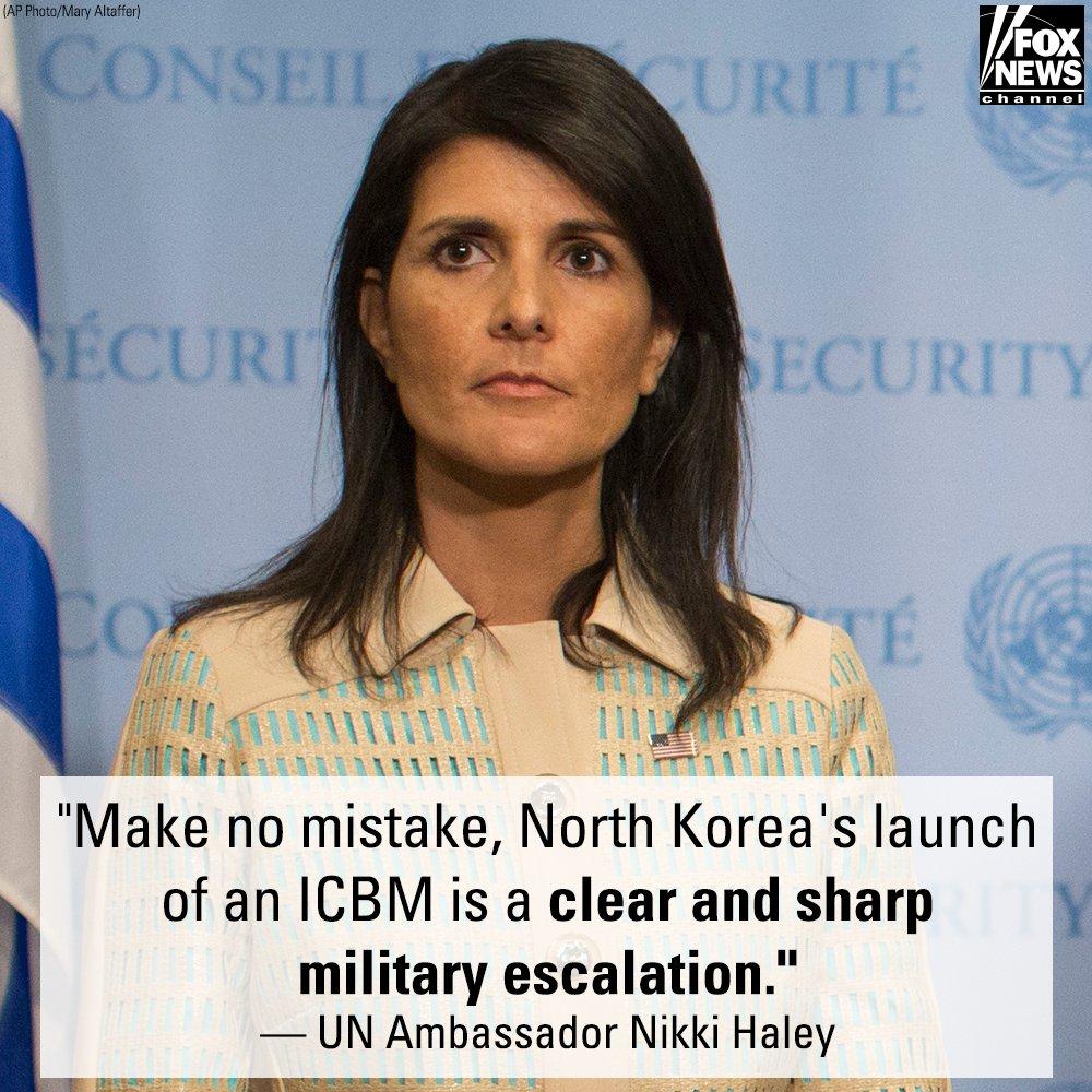 United Nations Ambassador @nikkihaley on North Korea's ICBM launch: