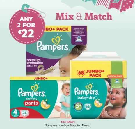 Pampers 2 for €22 is back....1 week only https://t.co/eVc8A0TUVG