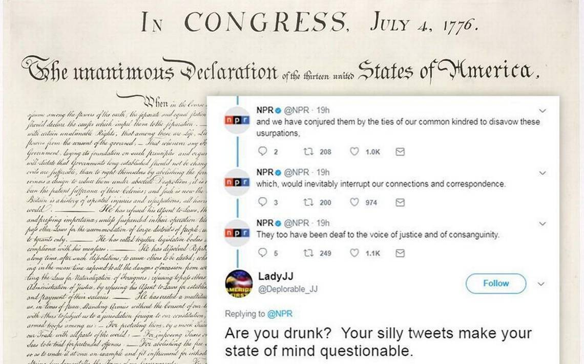 NPR tweets the Declaration of Independence, and people freak out about a 'revolution'