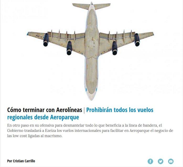 ... para facilitar en Aeroparque el negocio de las low cost ligadas al macrismo. https://t.co/k0PqMRbfyg