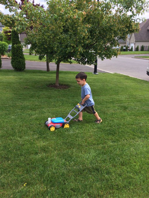 Happy 3rd Birthday prince!  Nice job on the lawn!