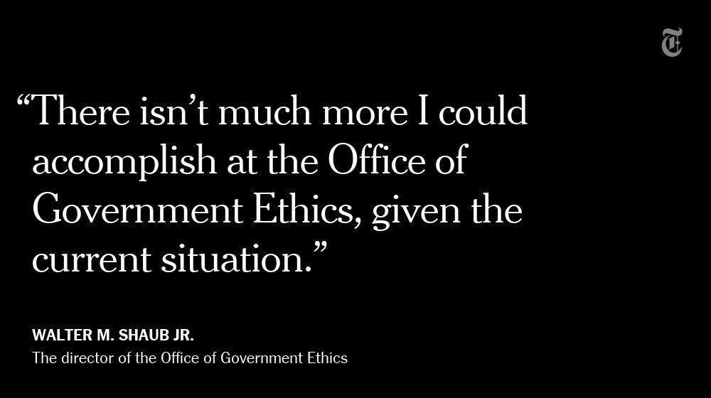 The government's top ethics watchdog resigns