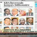 Business daily reveals KRA list of billionaire tax payers