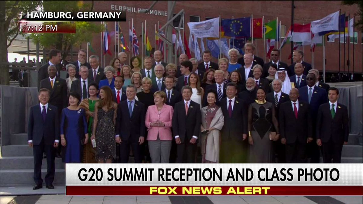 G20 leaders gathered for a class photo at a reception in Hamburg, Germany.