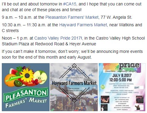Hey, #CA15 - come join me and share your thoughts tomorrow in Pleasanton, Hayward, or Castro Valley! https://t.co/sk7X2D8uTA