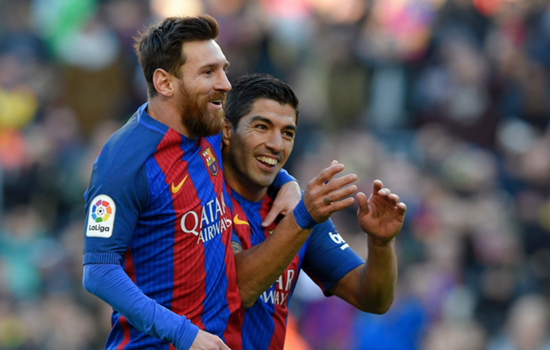 Messi joined on honeymoon by Barcelona team-mate and close friend Suarez