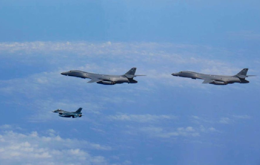 With tensions high, Pentagon flies bombers over Korean Peninsula in show of force