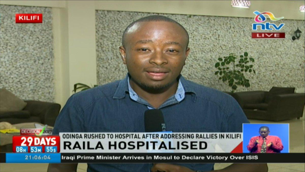 Raila Odinga hospitalised after addressing rallies in Kilifi