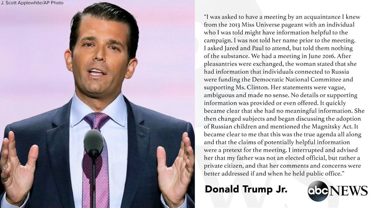 Donald Trump Jr.: Russian attorney offered damaging info on Hillary Clinton during campaign