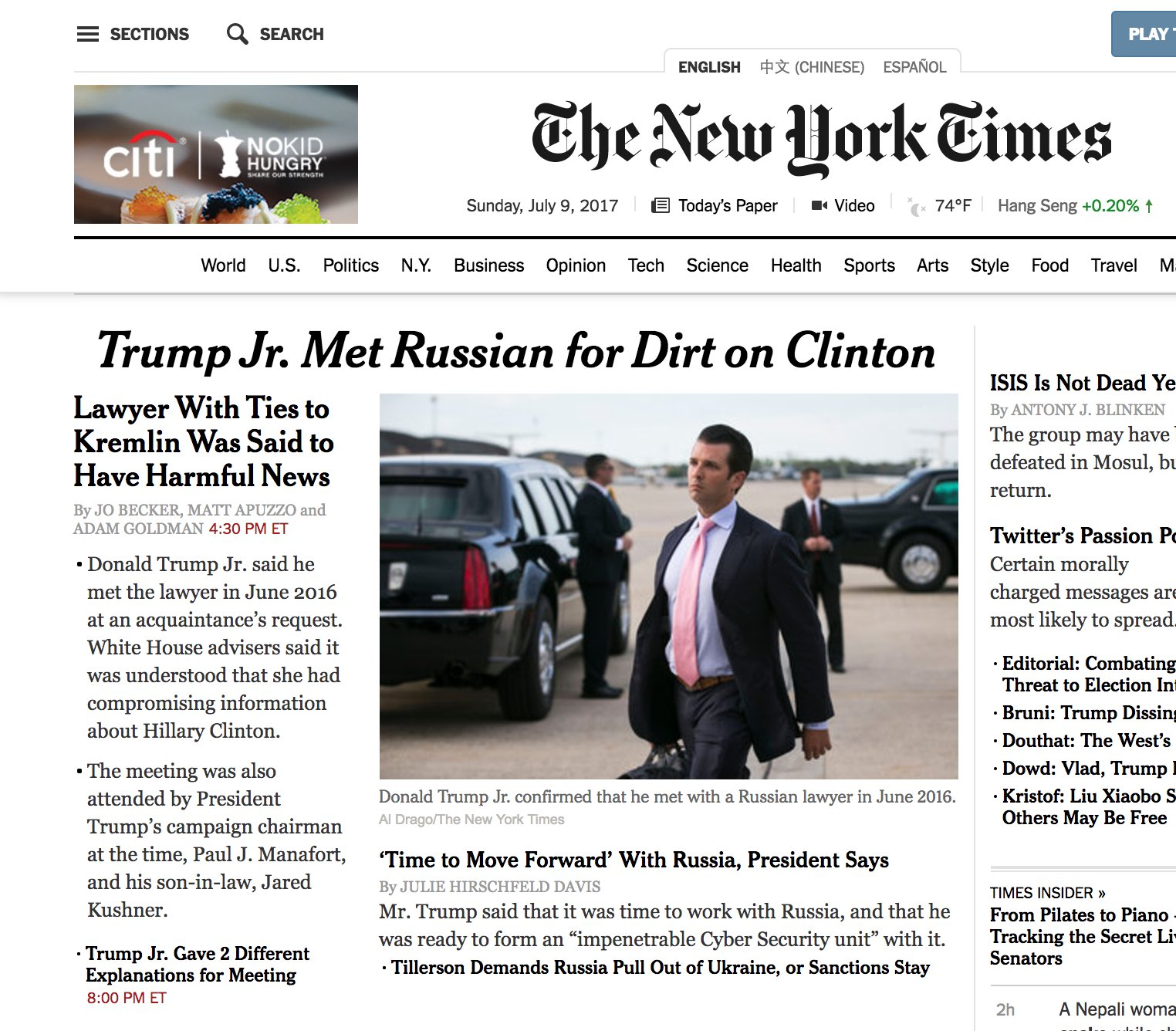 That's a helluva headline on the NYT homepage. And also note the story below it. https://t.co/axr3ZL7JWW