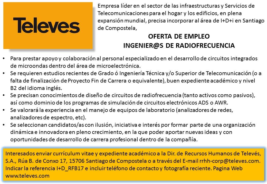 test Twitter Media - RT @EETelecoVigo: Oferta de trabajo en Televés https://t.co/R3K5TCNXSC