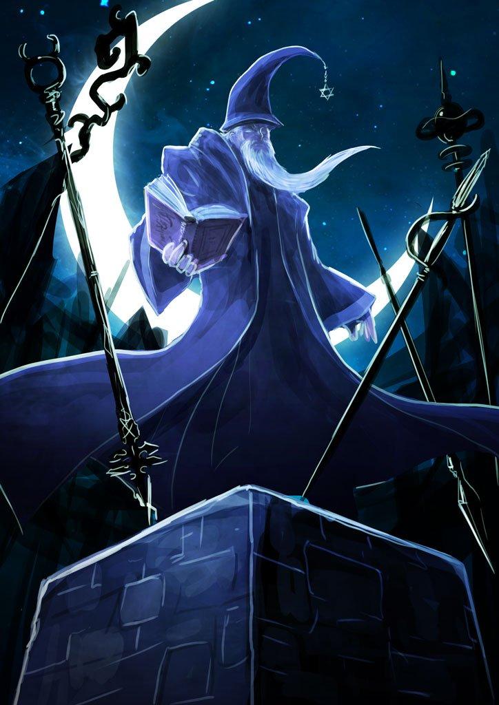 #ダークファンタジー版深夜の真剣お絵描き一発勝負お題[総帥][魔法戦争]その老賢者は七本の杖と七つの魔道を操り、近代にお