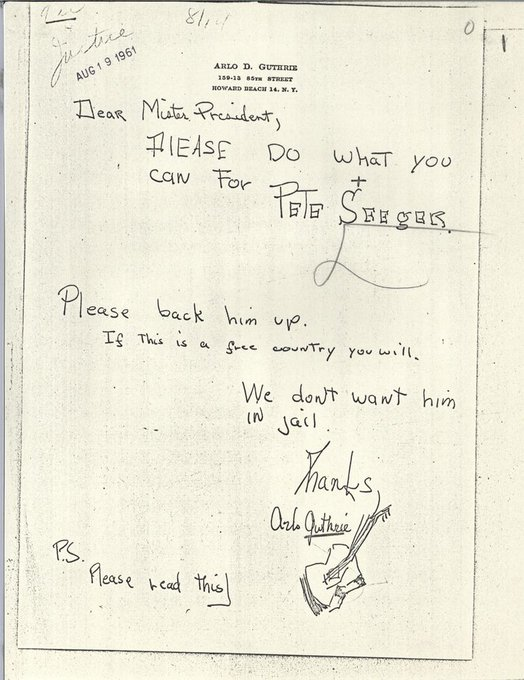 Happy birthday, Arlo Guthrie! A young wrote to JFK to while Pete Seeger was facing trial in 1961.
