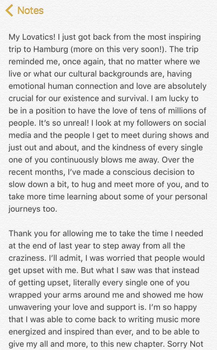 Thank you Lovatics �� https://t.co/Y4xNsLfsej