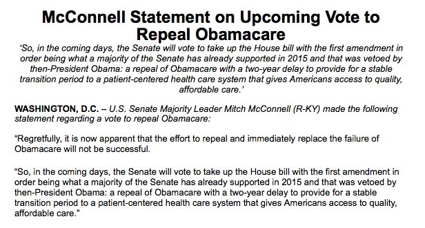 My statement on an upcoming vote to repeal #Obamacare