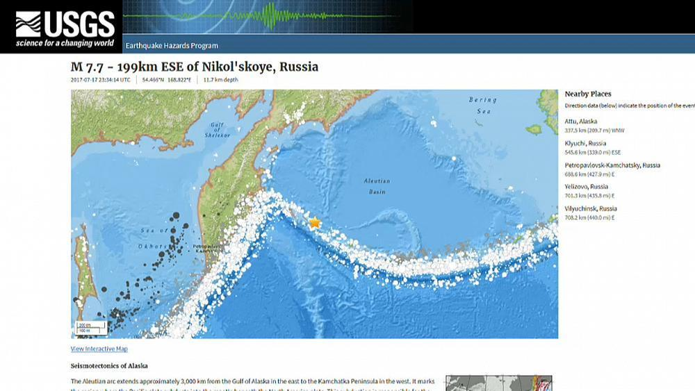 Earthquake strikes Russia's Kamchatka Peninsular