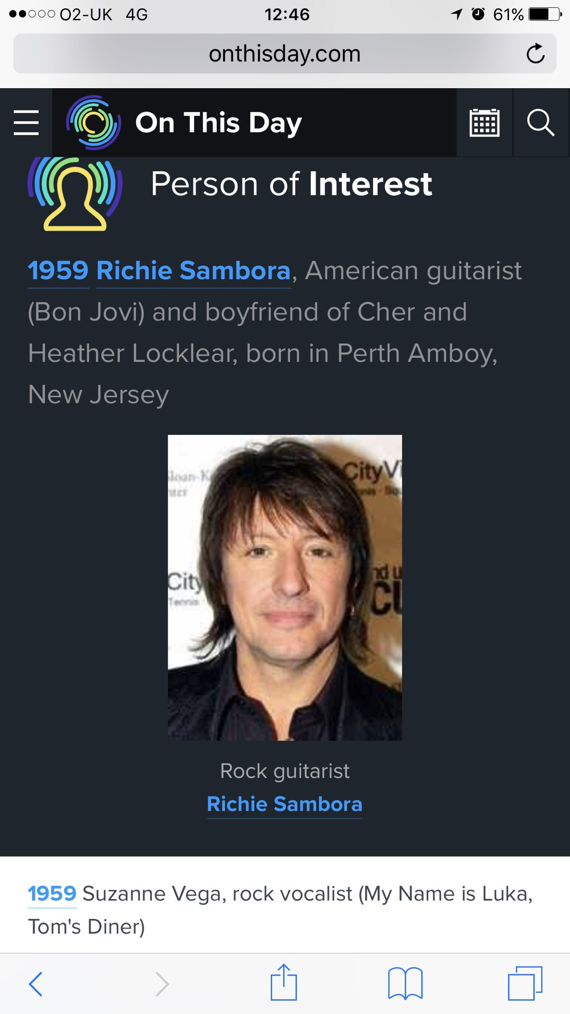 Happy 58th birthday to Richie Sambora and Suzanne Vega. Despite being a person of interest, this is a damning resumé