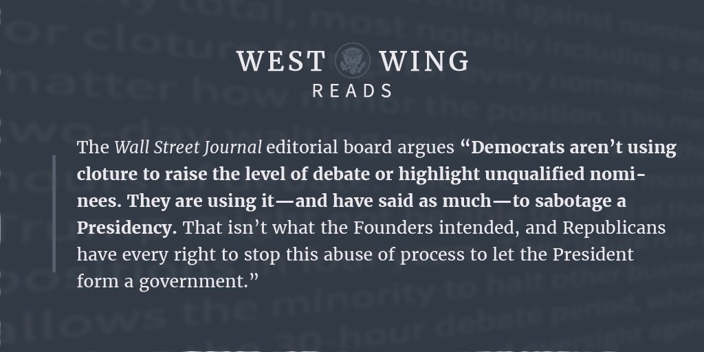 Obstruction by @SenateDems: Using cloture to 'sabotage the @POTUS Presidency.' @WSJopinion https://t.co/uVNpYFXetx https://t.co/5UKbYBjqe4