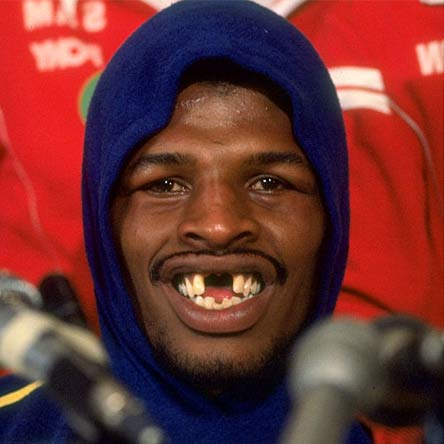 "Happy 64th birthday, Leon Spinks.  ""Ain\t got no teefus, no money, no driver\s license\""."