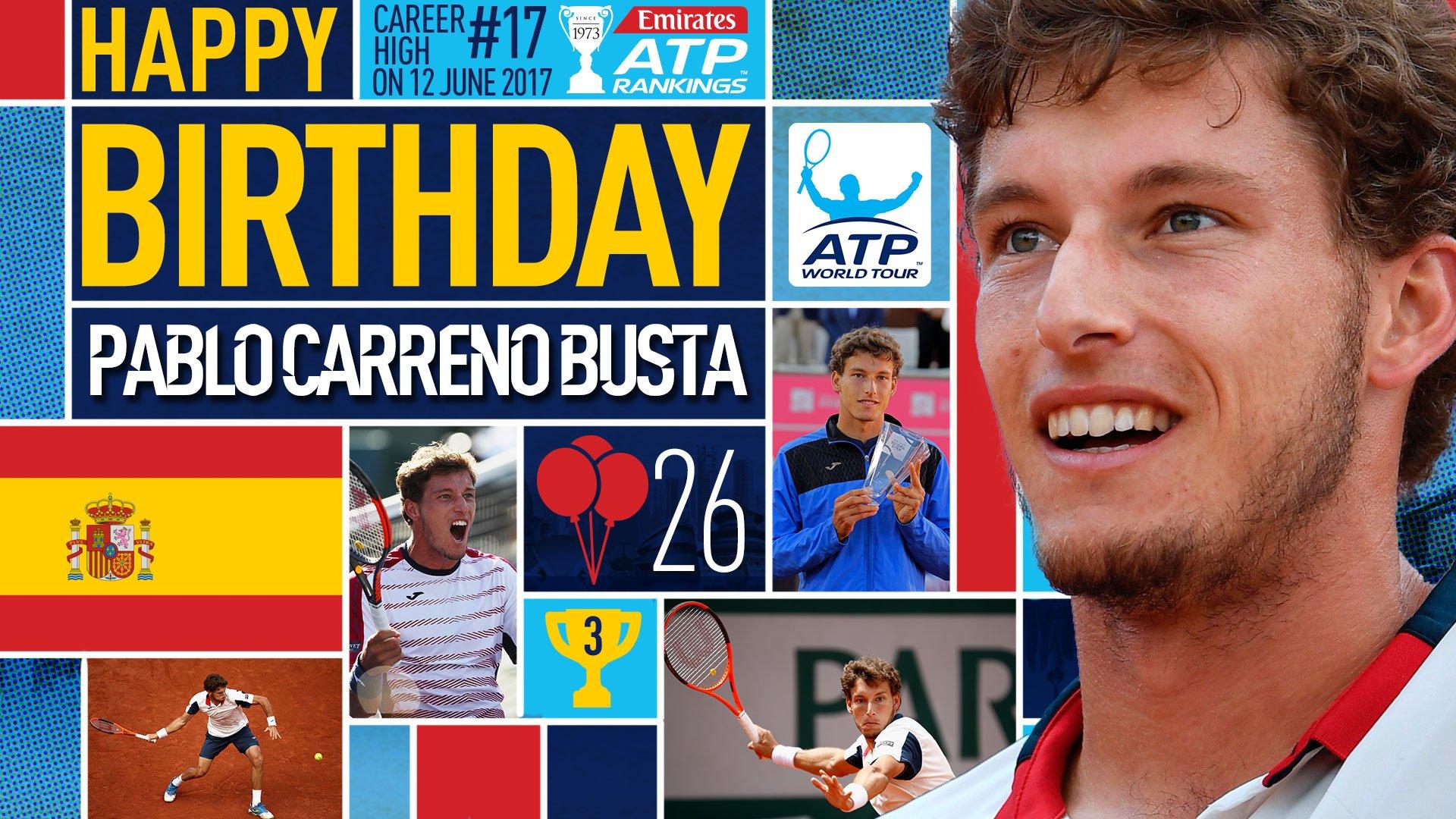 Happy 26th birthday to World No.17 @pablocarreno91! Feliz cumple �� View #ATP Profile: https://t.co/SrSbq3rmYb https://t.co/LfTlQqTOrT
