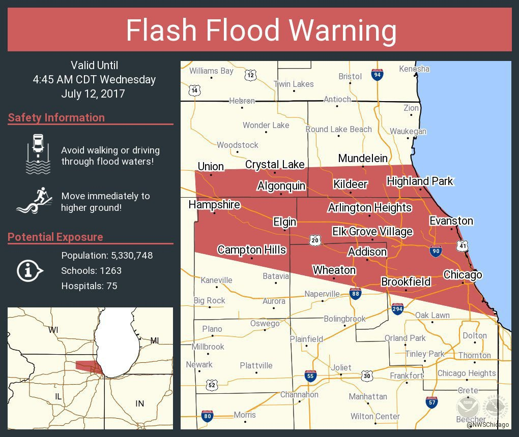 Flash flood warning issued for Chicago