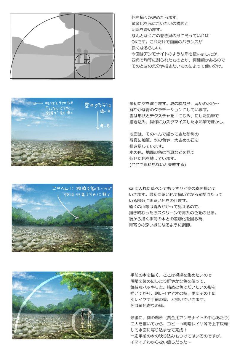 米子さん()こよみさん(@_koyomy)より、背景の構図や色決め、工程について。ささみさん()より髪の塗り方についてリ