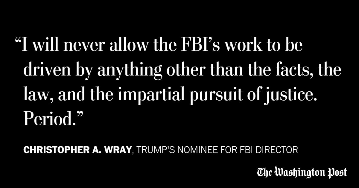 Trump nominee for FBI head says his loyalty is to the Constitution and rule of law