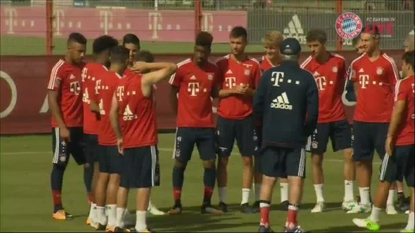 Bayern players sing happy birthday and welcome to Bayern to James Rodriguez.