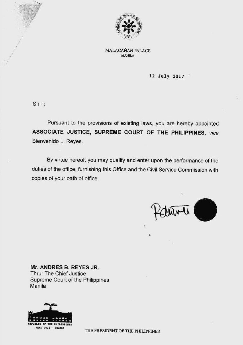 Look Appointment Letter Of New Supreme Court Associate Justice