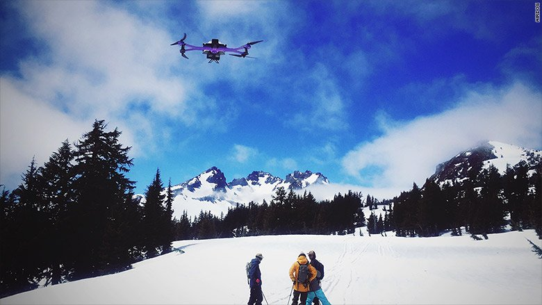 This drone follows you down the ski slopes or on a whitewater rafting run