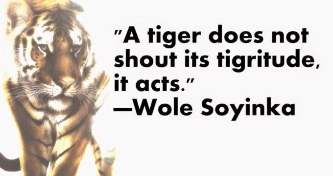 "Happy \""Less Noise, More Action\"" Thursday! Happy Birthday Wole Soyinka!"