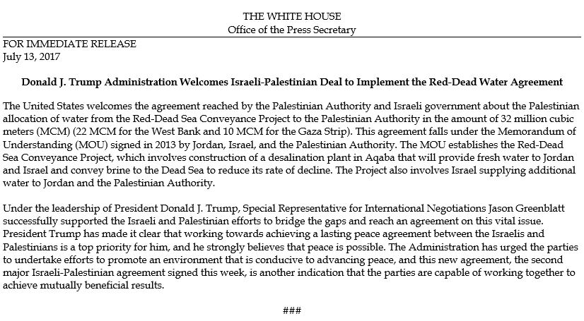 .@POTUS Administration Welcomes Israeli-Palestinian Deal to Implement the Red-Dead Water Agreement https://t.co/8CJCE8CQJu