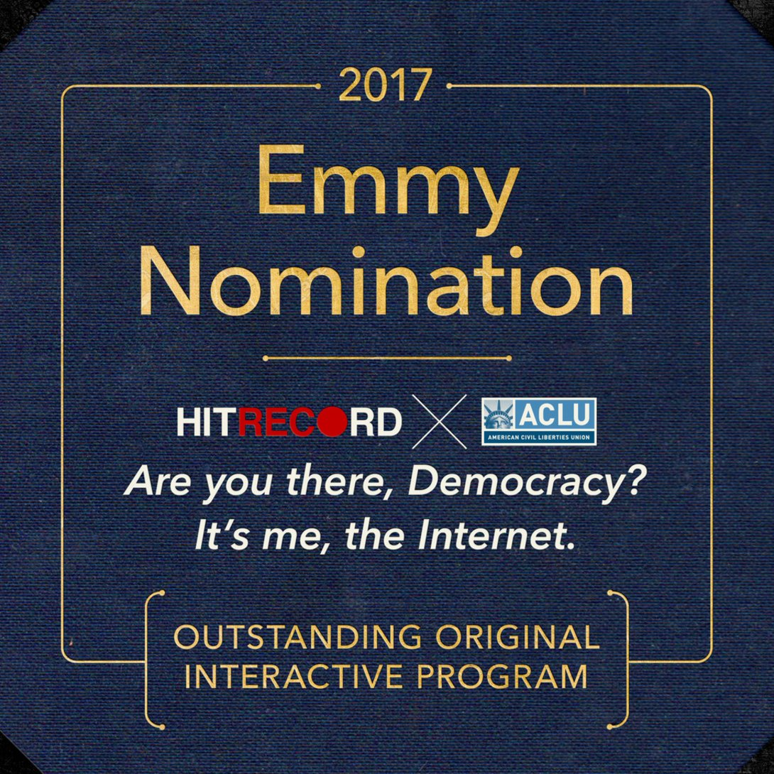 So proud of the @hitRECord community for being nominated for a 2017 Emmy Award. Honored to share it w/ the @ACLU. https://t.co/hkaZEHkVTt