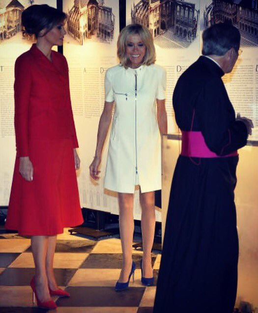 What a beautiful & special visit to Notre-Dame Cathedral with First Lady Brigitte Macron. Blessings to all. https://t.co/Wa8YGxQecm