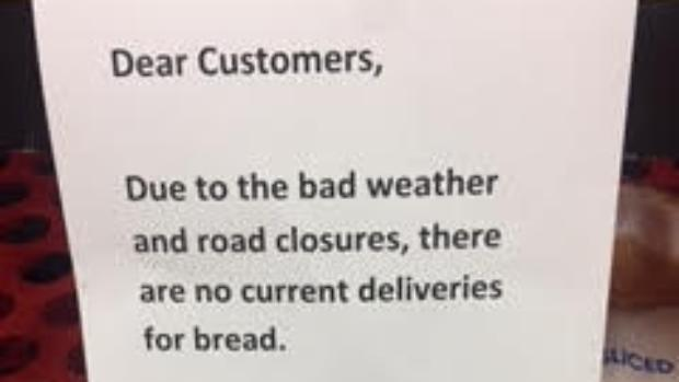 Bread missing from shelves as weather hits deliveries